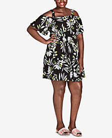 City Chic Trendy Plus Size Printed Cold-Shoulder Dress