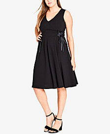 City Chic Trendy Plus Size Sleeveless Lace-Up Dress