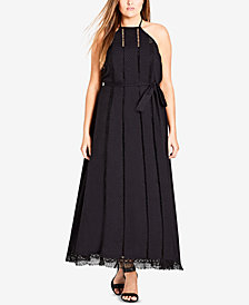 City Chic Trendy Plus Size Divine Weekend Embroidered Halter Maxi Dress