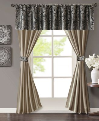 Aubrey 5-Pc. Jacquard Faux-Silk Rod Pocket Window Treatment Set