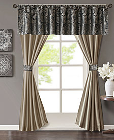 Madison Park Aubrey 5-Pc. Jacquard Faux-Silk Rod Pocket Window Treatment Set
