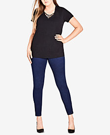 City Chic Trendy Plus Size Cotton Cross-Neck Top