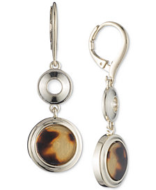 Lauren Ralph Lauren Silver Stone and Circle Drop Earrings