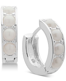 Lauren Ralph Lauren Silver-Tone Imitation Pearl Huggie Hoop Earrings