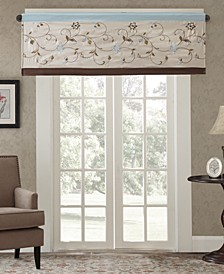 "CLOSEOUT! Serene 50"" x 18"" Colorblock Embroidered Valance"