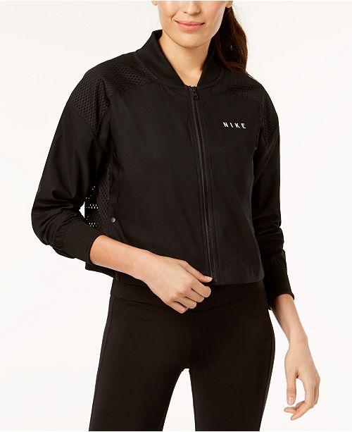 5040e5d645bd Nike Sportswear Mesh-Trimmed Cropped Bomber Jacket   Reviews ...