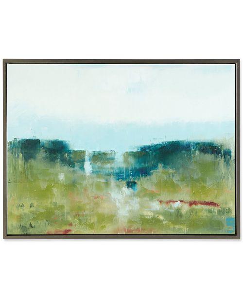 JLA Home Madison Park Signature Morning Fields Green Framed Hand-Embellished Canvas Print