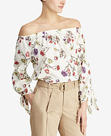 Lauren Ralph Lauren Petite Floral-Print Off-The-Shoulder Cotton Top