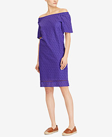 Lauren Ralph Lauren Eyelet Off-The-Shoulder Dress