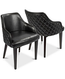 Esteban Faux Leather Dining Chair (Set of 2), Quick Ship