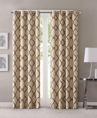 "Madison Park Saratoga 50"" x 63"" Fretwork-Print Grommet Curtain Panel"