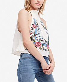 Free People Honey Pie Embroidered Crop Top