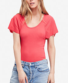 Free People Byron Ribbed Flutter-Sleeve Bodysuit