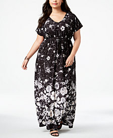 Style & Co Plus Size Printed Empire-Waist Maxi Dress, Created for Macy's