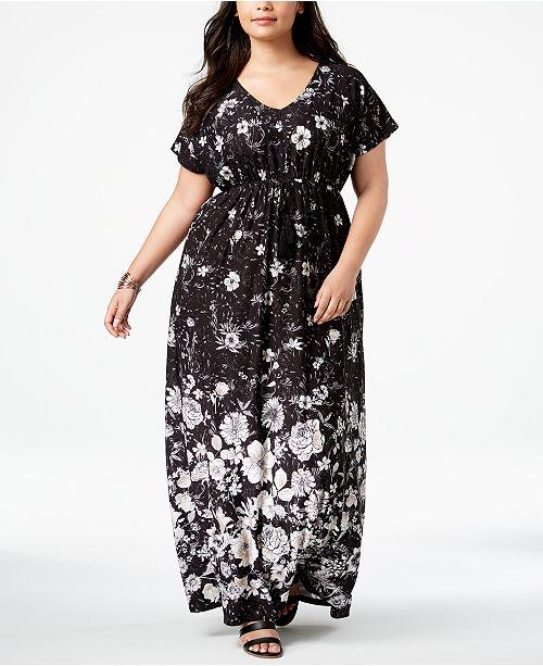 Style & Co Plus Size Printed Empire-Waist Maxi Dress ...