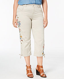 Style & Co Plus Size Petal Fusion Embroidered Cropped Pants, Created for Macy's