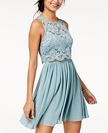 Juniors' Lace Popover Fit & Flare Dress