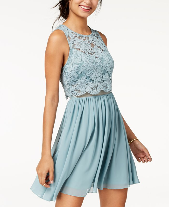 City Studios - Juniors' Lace Popover Fit & Flare Dress