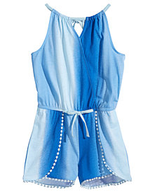 Epic Threads Pompom-Trim Romper, Big Girls, Created for Macy's
