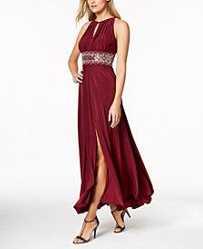 R&M Richards Petite Sleeveless Beaded Gown