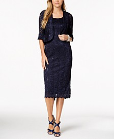 Sequined Lace Midi Dress and Jacket