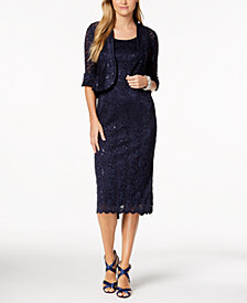 R & M Richards Petite Sequined Lace Dress & Bell-Sleeve Jacket