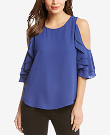 Karen Kane Cold-Shoulder Ruffle-Sleeve Top