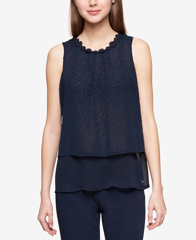 Tommy Hilfiger Tiered Floral-Neck Dobby Shell