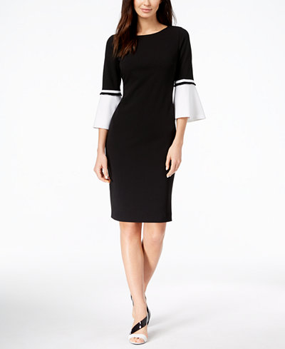 Calvin Klein Bell-Sleeve Colorblocked Sheath Dress