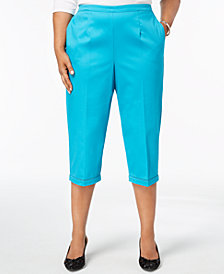 Alfred Dunner Scottsdale Plus Size Crochet-Cuff Capri Pants