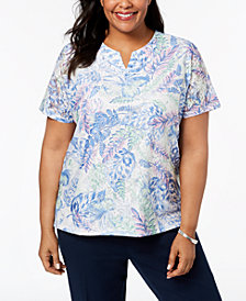 Alfred Dunner Daydream Plus Size Floral-Print Lace Top