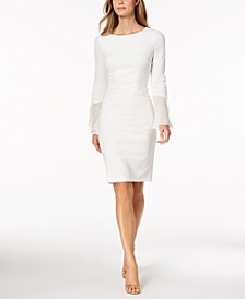 Petite Chiffon Bell-Sleeve Sheath Dress