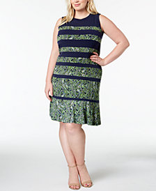 MICHAEL Michael Kors Plus Size Printed Flared-Hem Dress