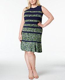 MICHAEL Michael Kors Plus Size Printed Flared-Hem Dress