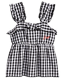 GUESS Ruffle-Trim Gingham Top, Big Girls