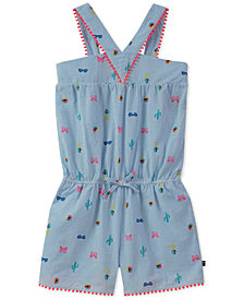 Tommy Hilfiger Printed Cotton Seersucker Romper, Big Girls