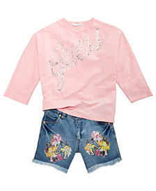 GUESS Logo Top & Graphic Denim Shorts, Big Girls