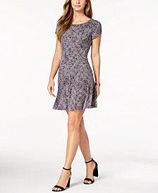 Connected Petite Printed Fit & Flare Dress