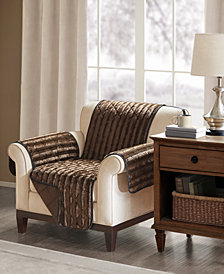 Madison Park Duke Reversible Diamond-Quilted Faux-Fur Chair Protector