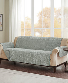 Madison Park Bismarck Embroidered Faux-Fur Sofa Protector