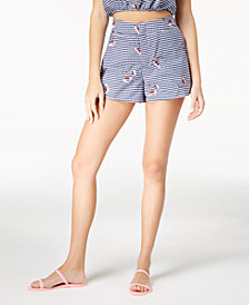 The Edit By Seventeen Juniors' Embroidered Gingham Shorts, Created for Macy's