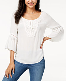 BCX Juniors' Bell-Sleeved Crochet-Trimmed Peasant Top