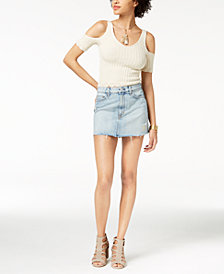 Hudson Jeans Frayed Cotton Denim Skirt