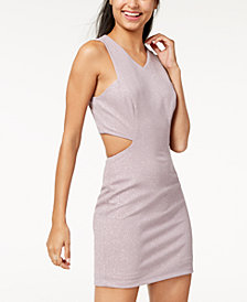 Speechless Juniors' Cutout Glitter-Detail Bodycon Dress