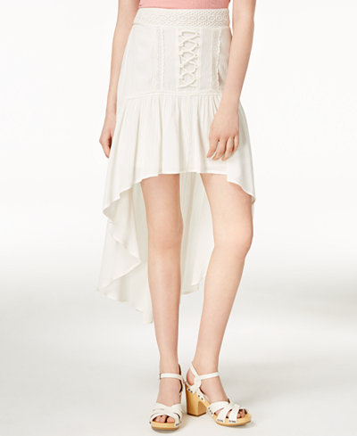American Rag Juniors' Crochet-Trimmed High-Low Skirt, Created for Macy's