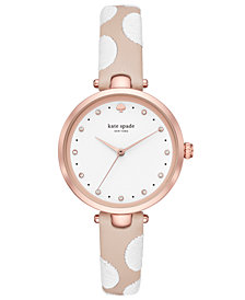 kate spade new york Women's Holland Nude & White Leather Strap Watch 34mm