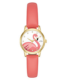 kate spade new york Women's Mini Metro Pink Leather Strap Watch 26mm
