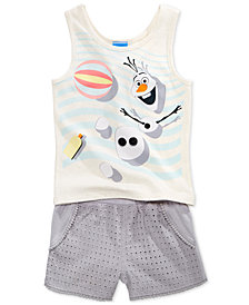 Disney's® 2-Pc. Olaf Tank Top & Shorts Set, Little Girls