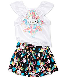 Hello Kitty Little Girls 2-Pc. T-Shirt & Skirt Set