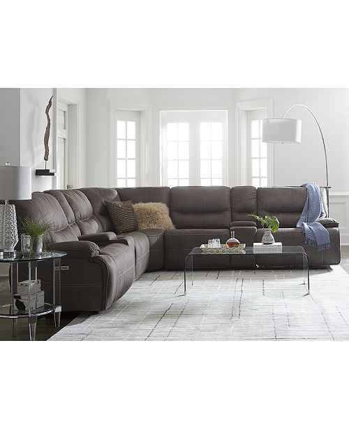 Furniture Felyx 7 Pc Fabric Sectional Sofa With 3 Recliners Headrests 2 Consoles And Usb Outlet Macy S